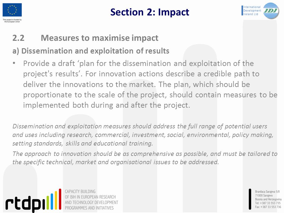 Section 2: Impact 2.2 Measures to maximise impact