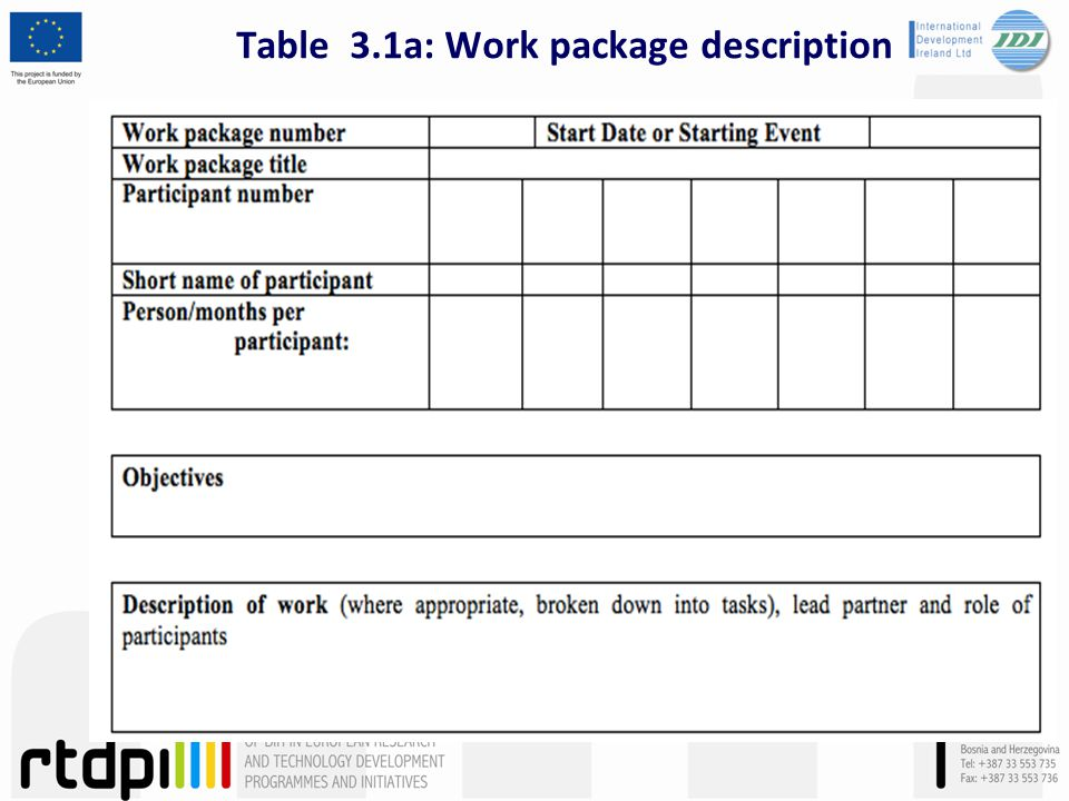 Table 3.1a: Work package description