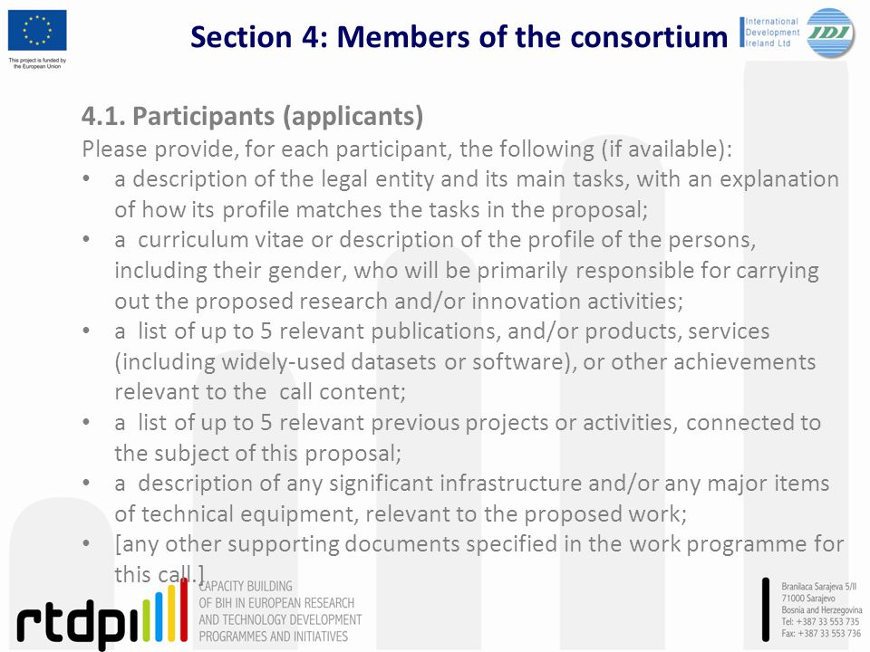 Section 4: Members of the consortium