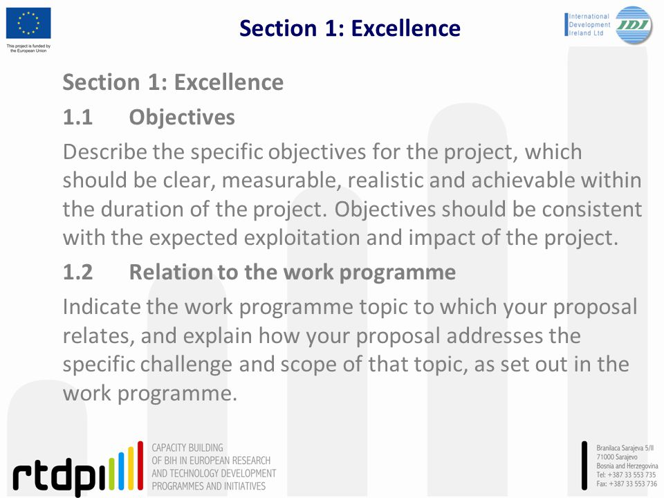 Section 1: Excellence Section 1: Excellence 1.1 Objectives
