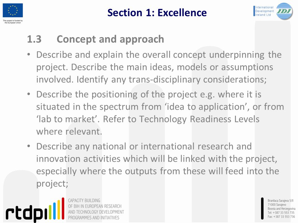 Section 1: Excellence 1.3 Concept and approach