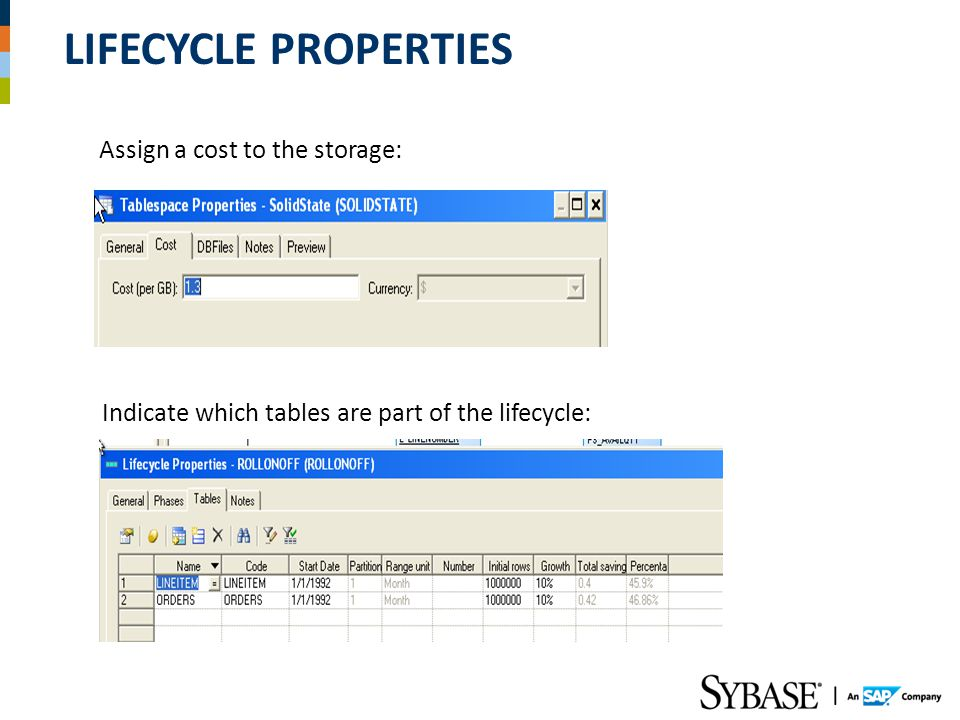 Lifecycle Properties Assign a cost to the storage:
