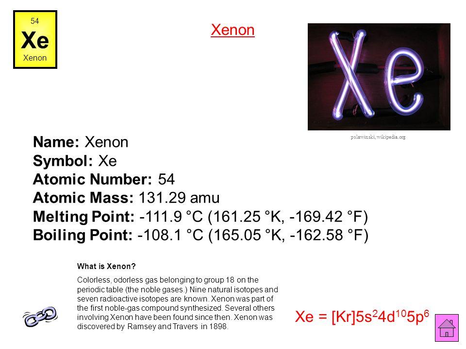 54 Xe. Xenon. Xenon.