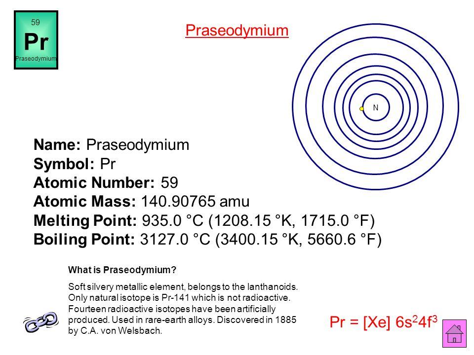 59 Pr. Praseodymium. Praseodymium. N.