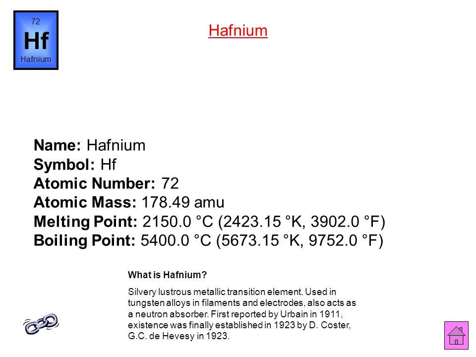 72 Hf. Hafnium. Hafnium.