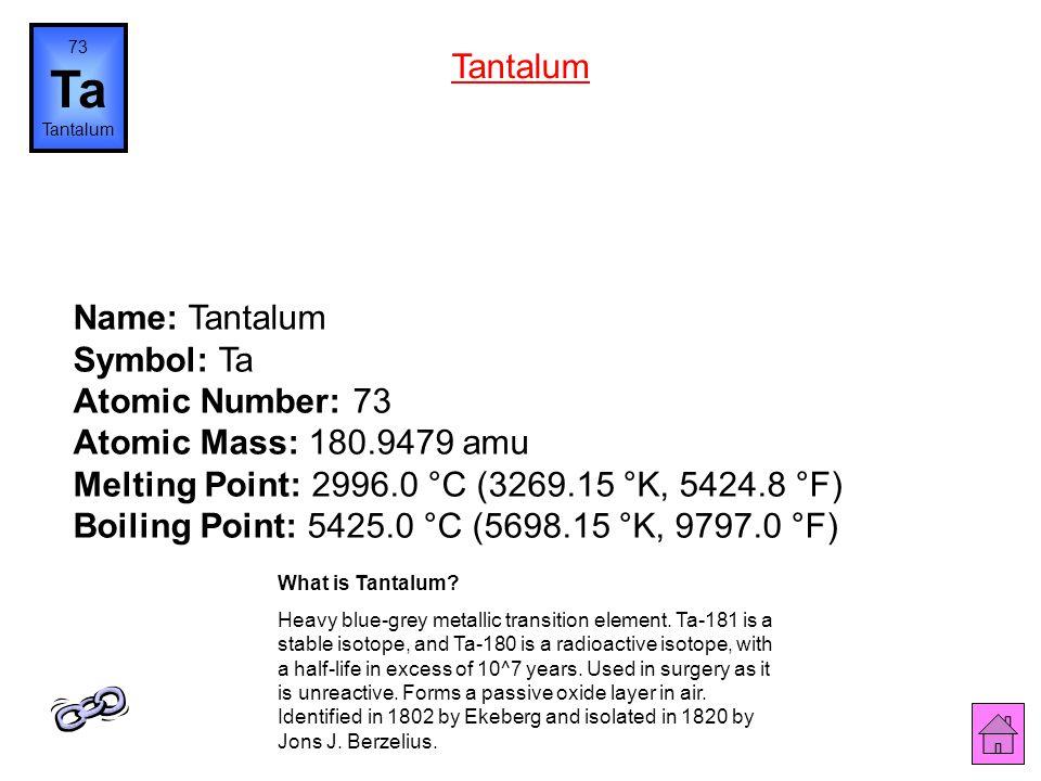 73 Ta. Tantalum. Tantalum.