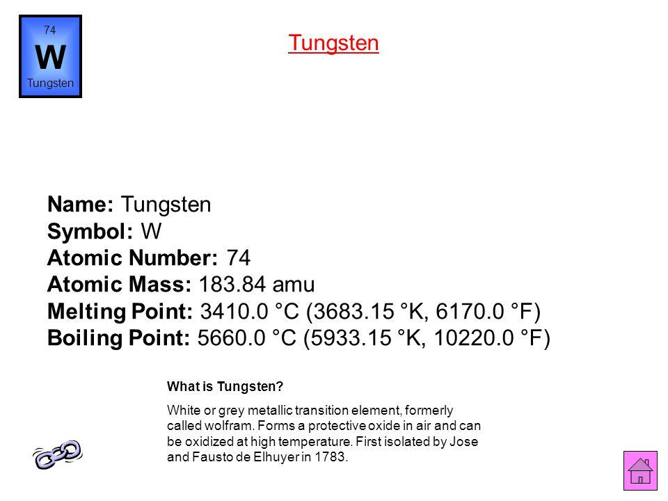 74 W. Tungsten. Tungsten.