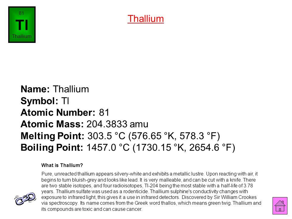 81 Tl. Thallium. Thallium.
