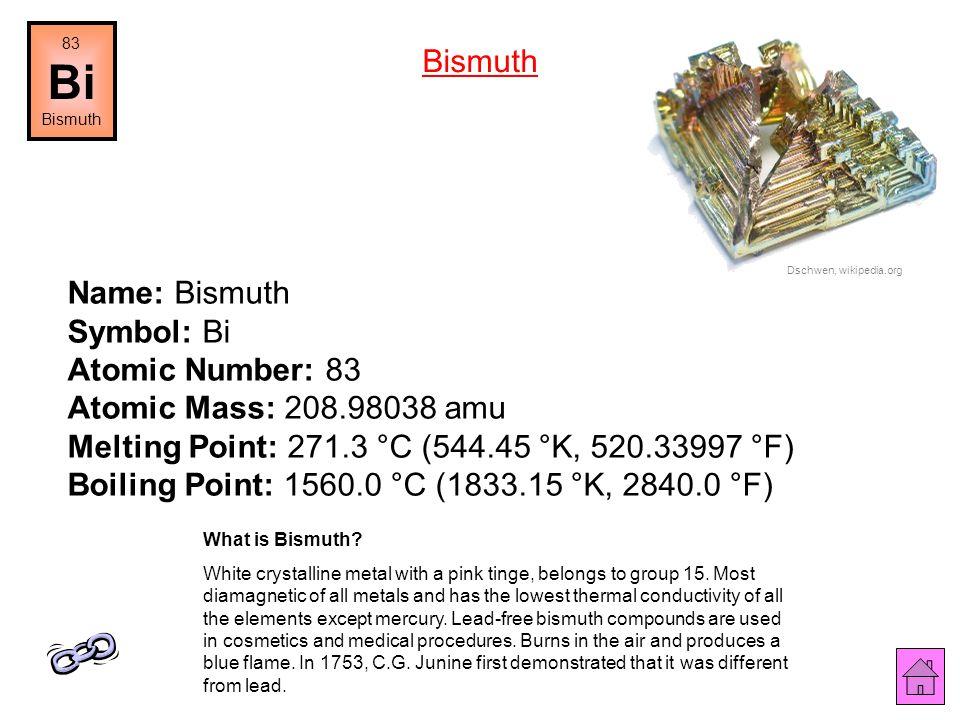 83 Bi. Bismuth. Bismuth. Dschwen, wikipedia.org.