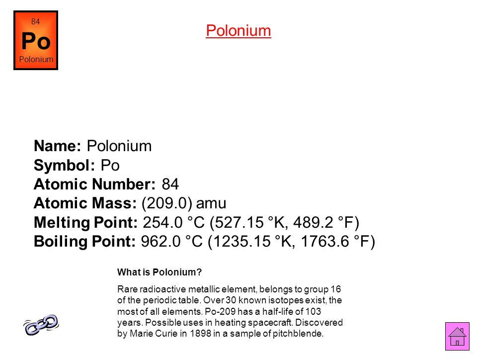 84 Po. Polonium. Polonium.