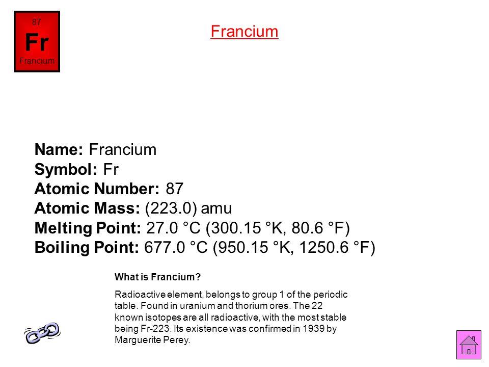 87 Fr. Francium. Francium.