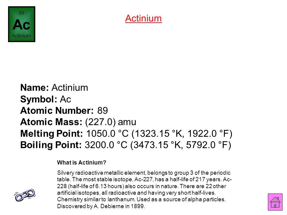 89 Ac. Actinium. Actinium.