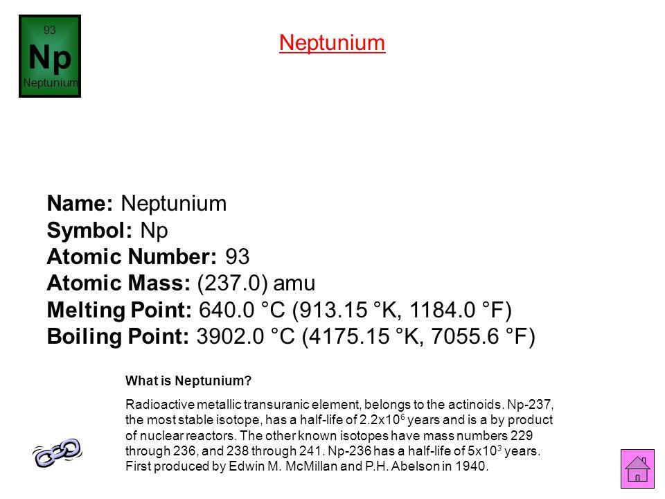93 Np. Neptunium. Neptunium.