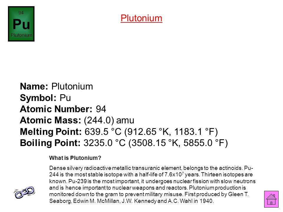 94 Pu. Plutonium. Plutonium.