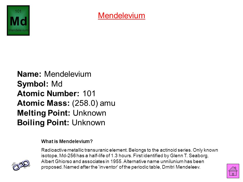 101 Md. Mendelevium. Mendelevium.