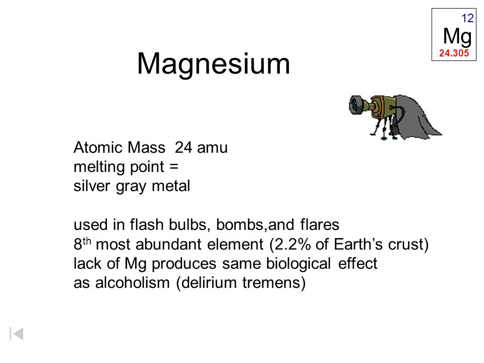 Magnesium Mg Atomic Mass 24 amu melting point = silver gray metal