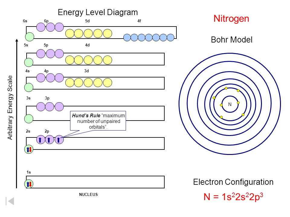 Nitrogen N = 1s22s22p3 Energy Level Diagram Bohr Model