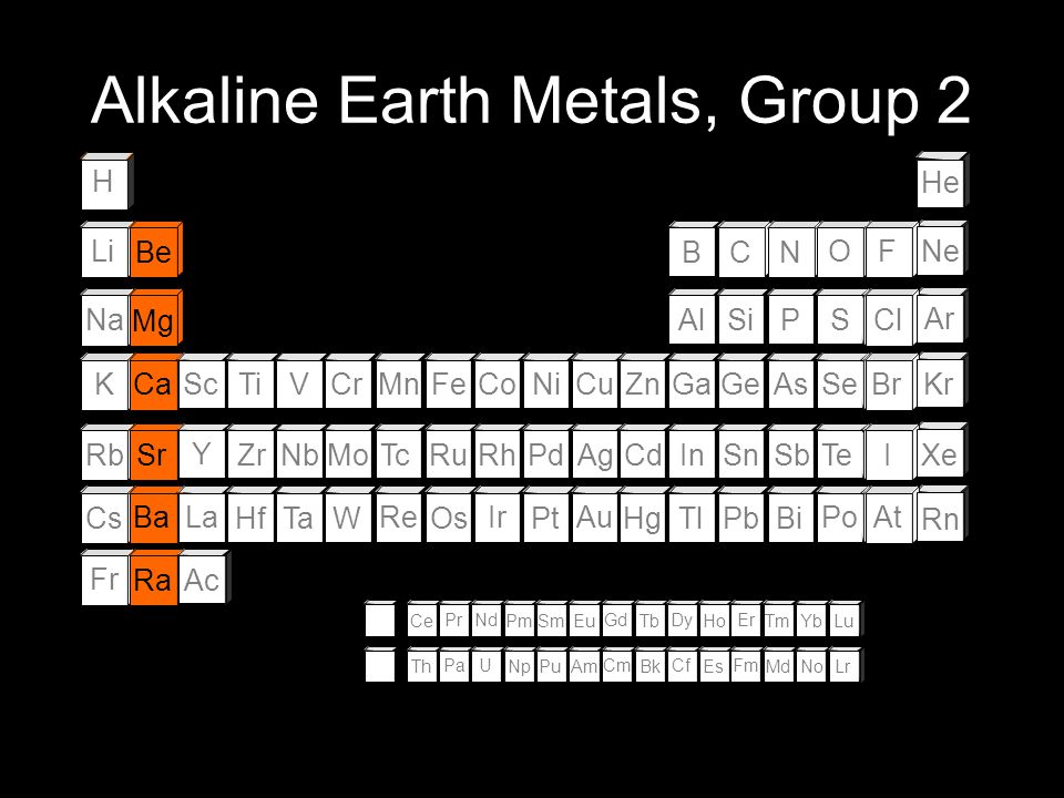 Alkaline Earth Metals, Group 2