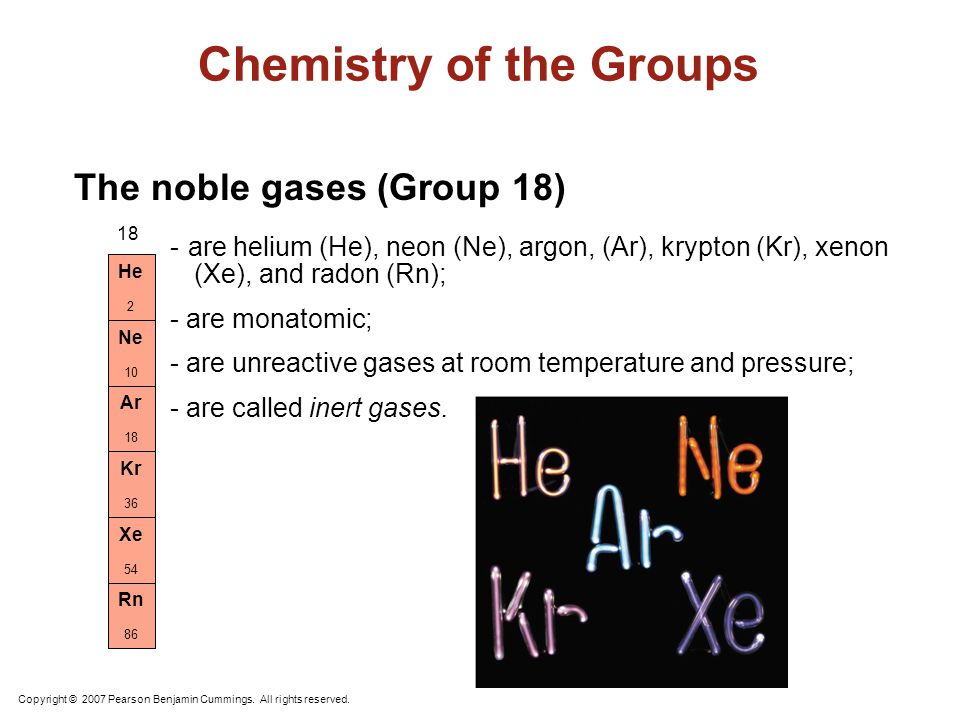 Chemistry of the Groups