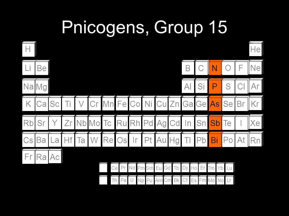 Pnicogens, Group 15 H He Li Be B C N O F Ne Na Mg Al Si P S Cl Ar K Ca
