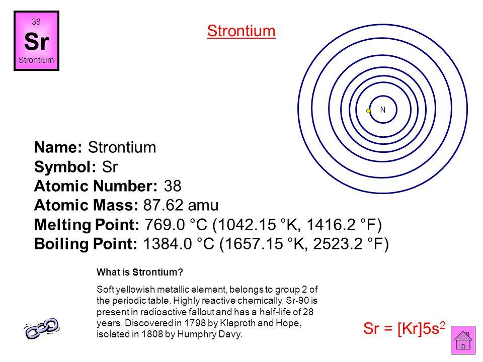 38 Sr. Strontium. Strontium. N.