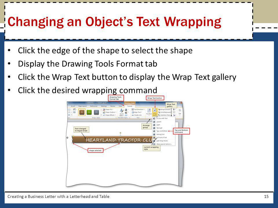 Changing an Object's Text Wrapping