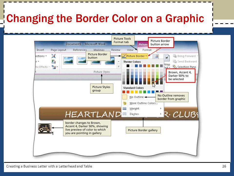 Changing the Border Color on a Graphic
