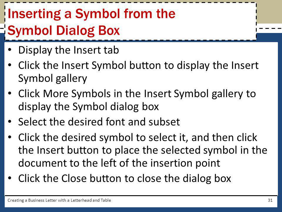 Inserting a Symbol from the Symbol Dialog Box