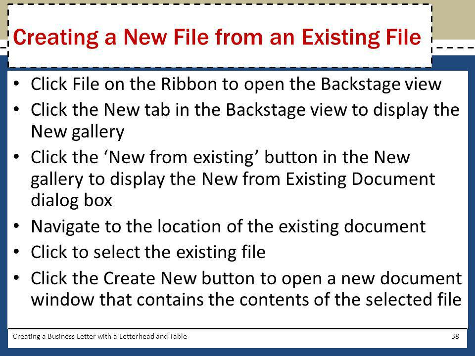 Creating a New File from an Existing File