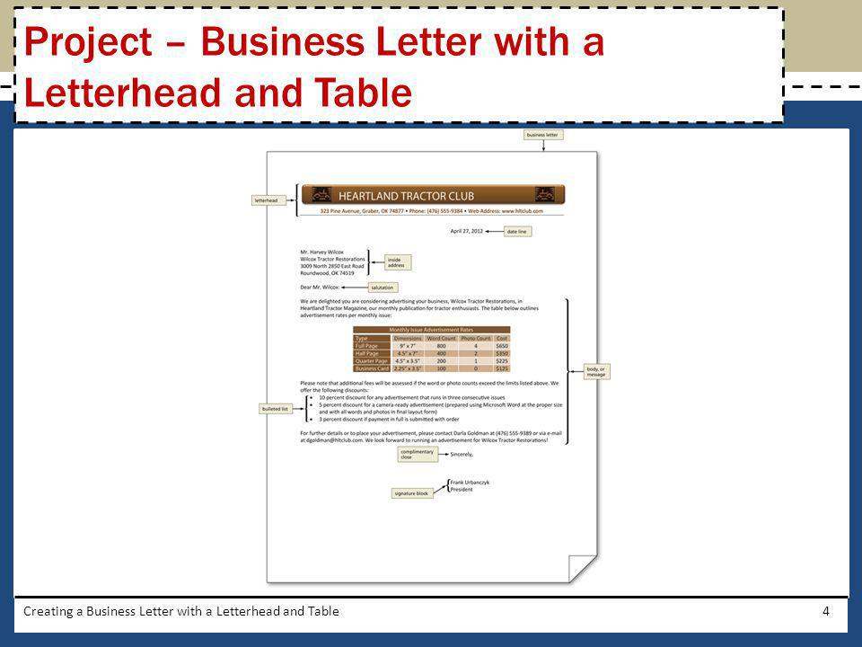 Project – Business Letter with a Letterhead and Table