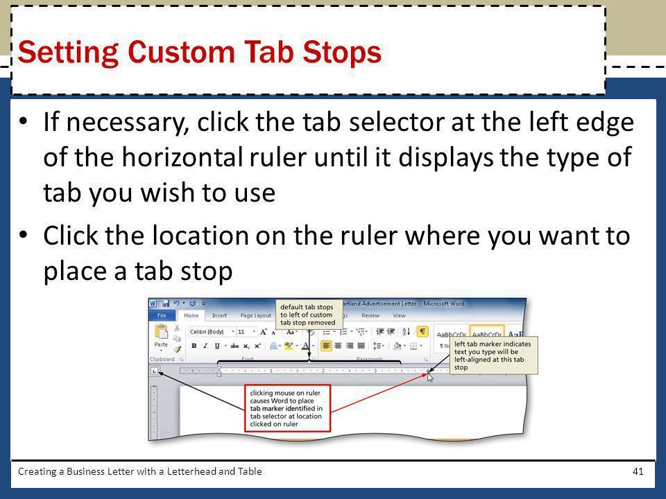 Setting Custom Tab Stops