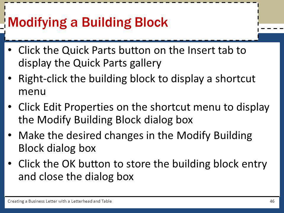 Modifying a Building Block