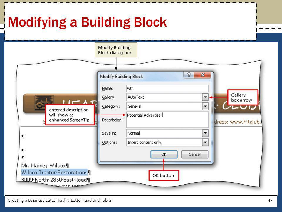 Modifying a Building Block