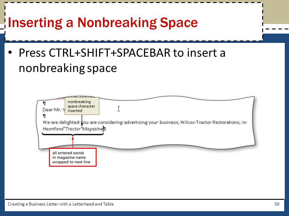 Inserting a Nonbreaking Space