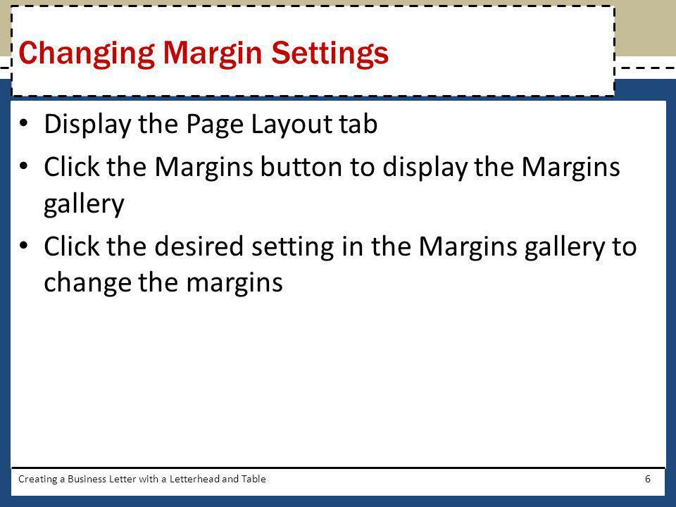 Changing Margin Settings