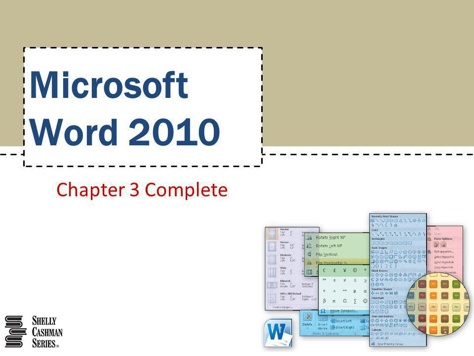 Microsoft Word 2010 Chapter 3 Complete
