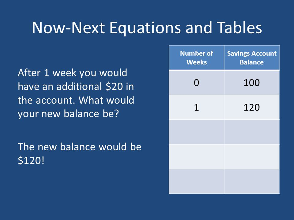 Now-Next Equations and Tables