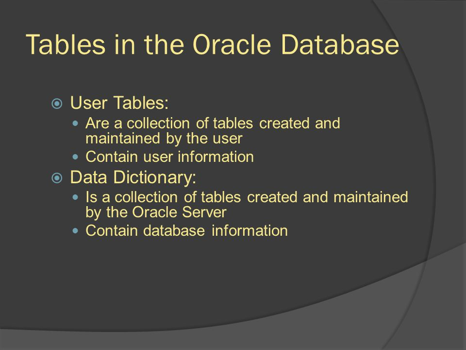 Tables in the Oracle Database