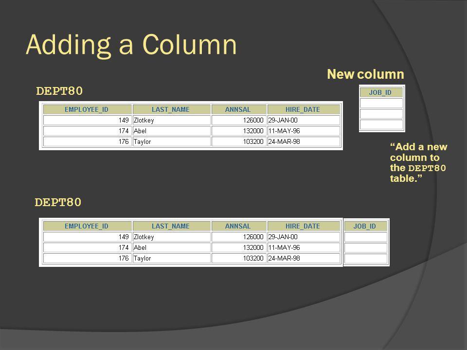 Adding a Column New column DEPT80 DEPT80