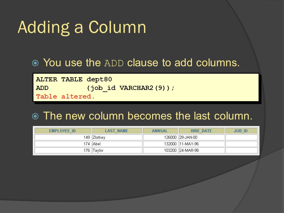 Adding a Column You use the ADD clause to add columns.