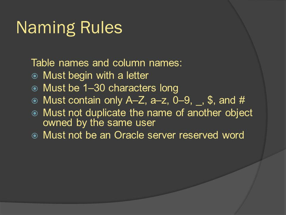 Naming Rules Table names and column names: Must begin with a letter