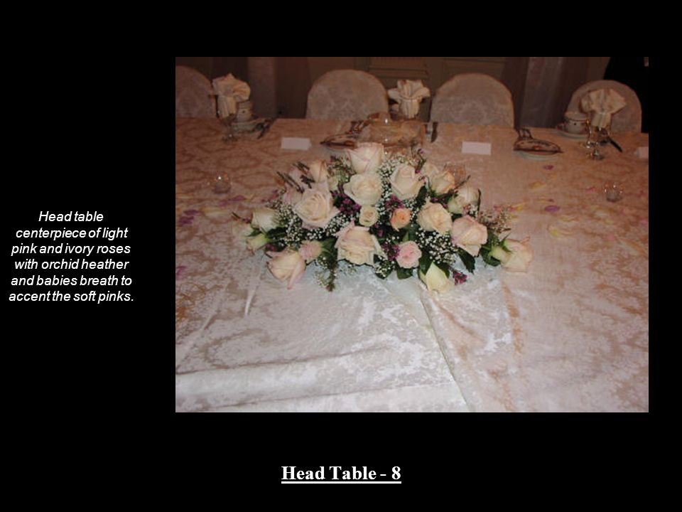 Head table centerpiece of light pink and ivory roses with orchid heather and babies breath to accent the soft pinks.