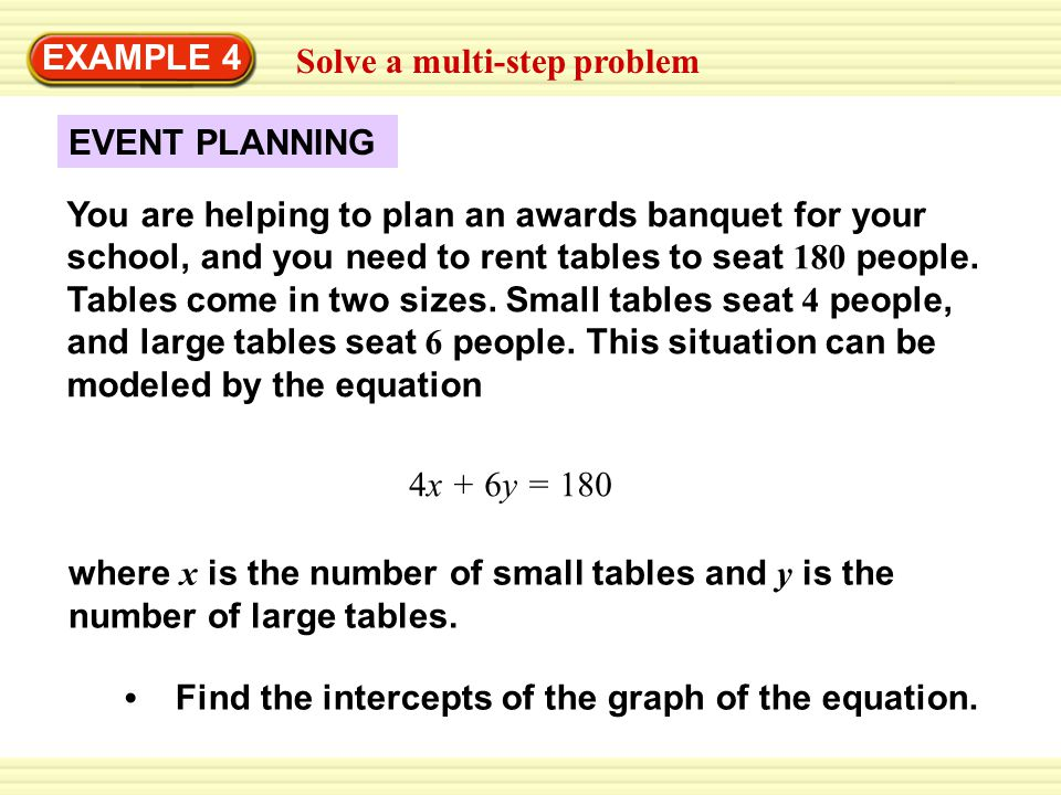 EXAMPLE 4 Solve a multi-step problem. EVENT PLANNING.