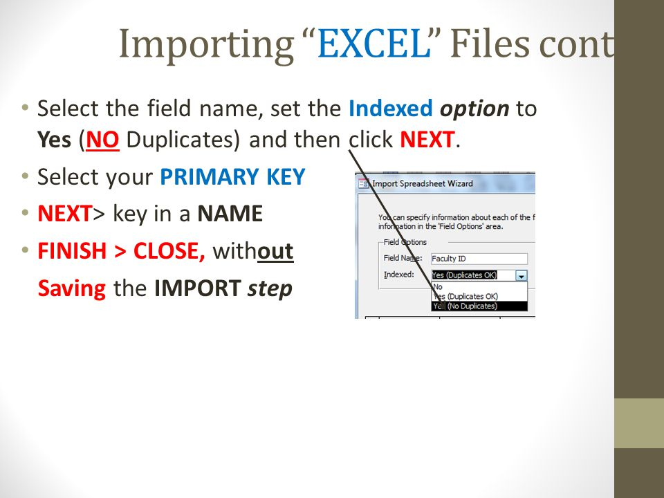 Importing EXCEL Files cont.
