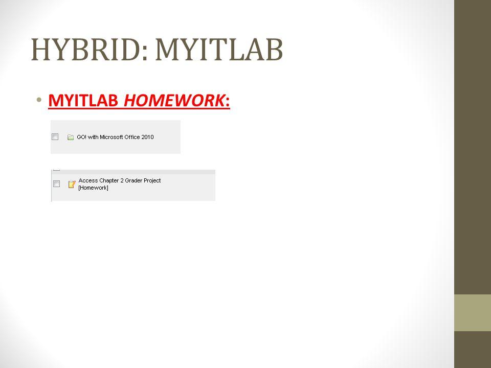 HYBRID: MYITLAB HYBRID: MYITLAB