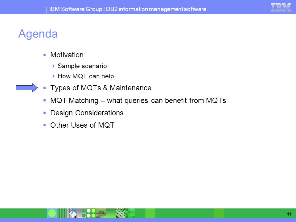 Agenda Motivation Types of MQTs & Maintenance