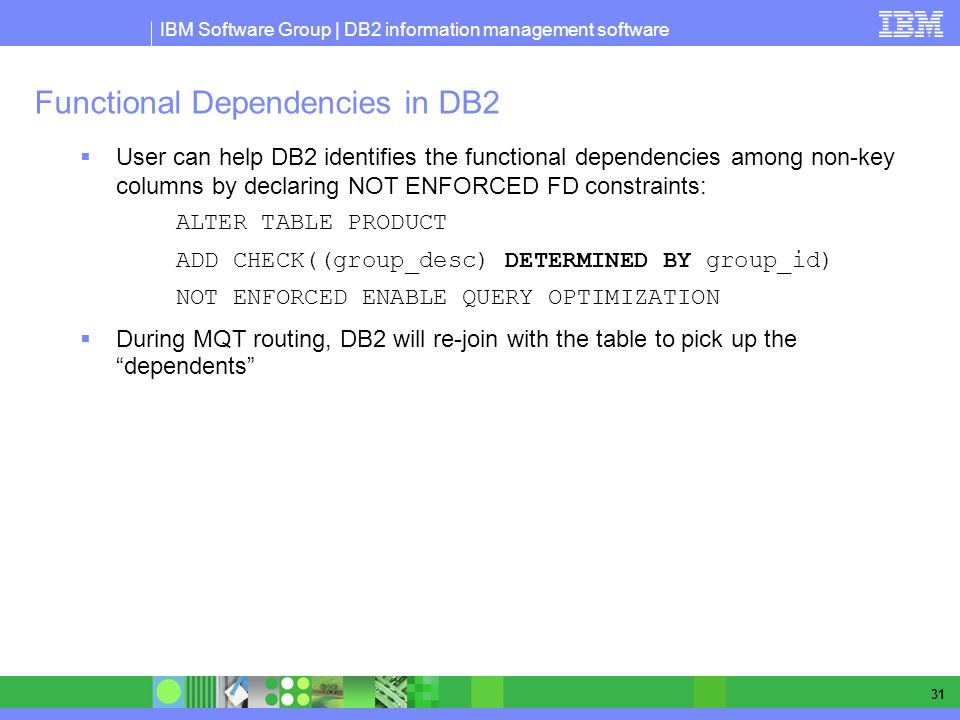 Functional Dependencies in DB2