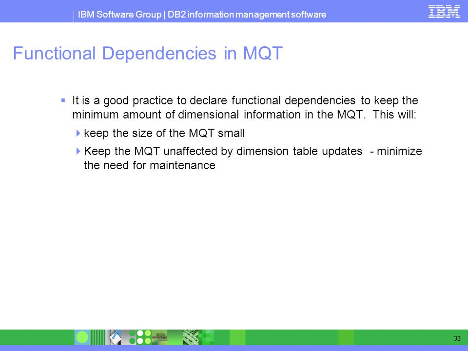 Functional Dependencies in MQT