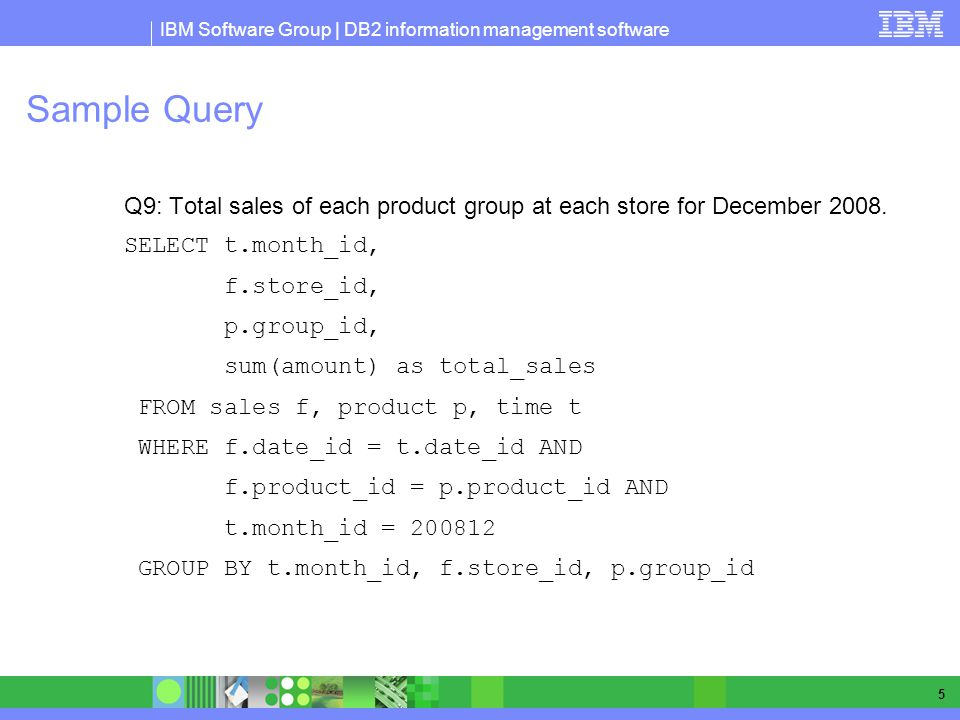 Sample Query Q9: Total sales of each product group at each store for December 2008. SELECT t.month_id,