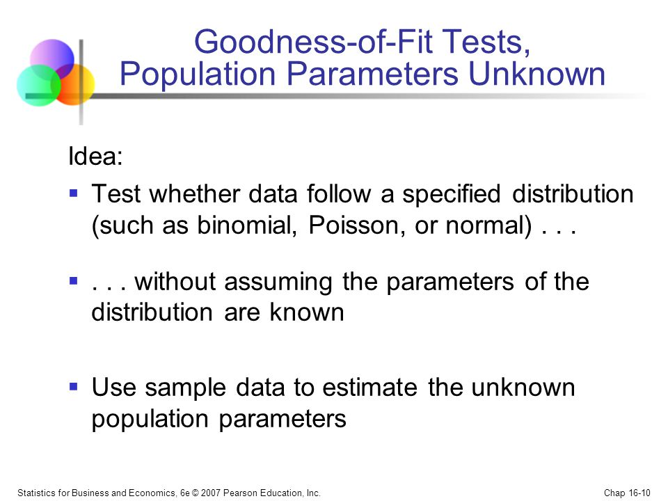 Goodness-of-Fit Tests, Population Parameters Unknown